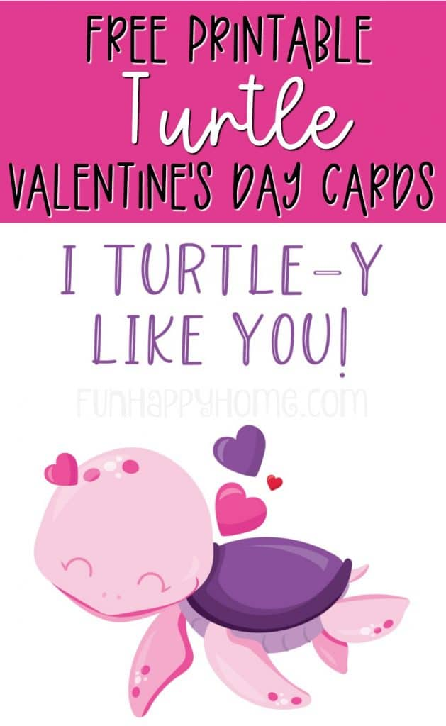 This turtle valentine is part of a set of free printable Valentine's Day cards with sea animals on them.