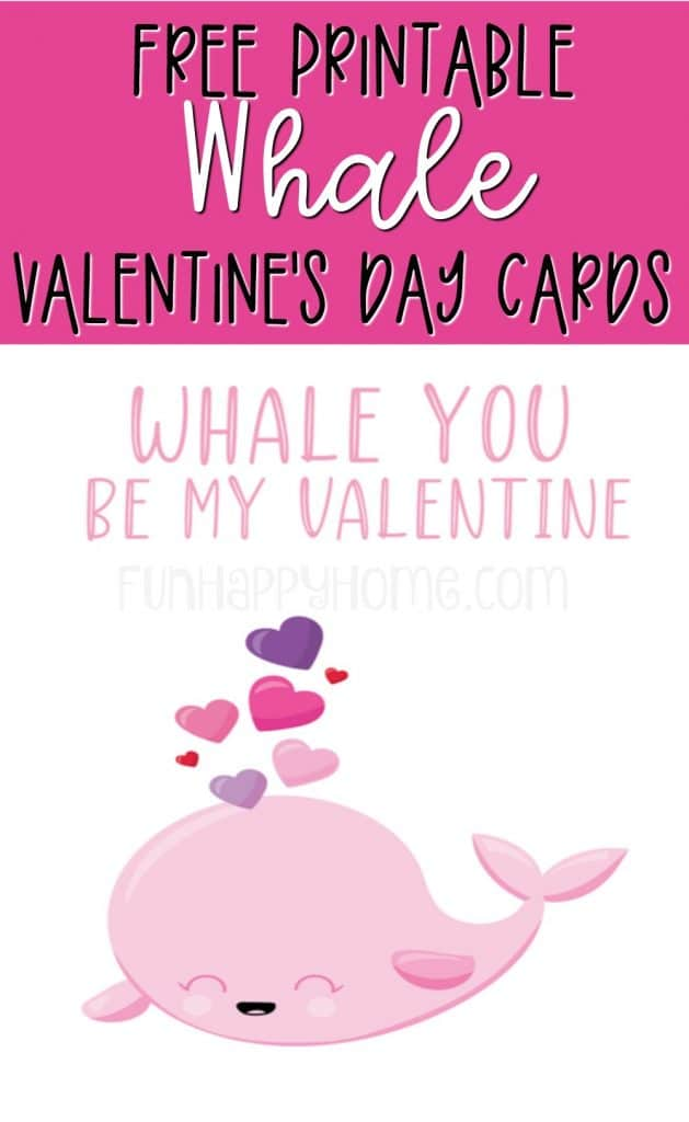 This whale valentine is part of a set of free printable Valentine's Day cards with sea animals on them.