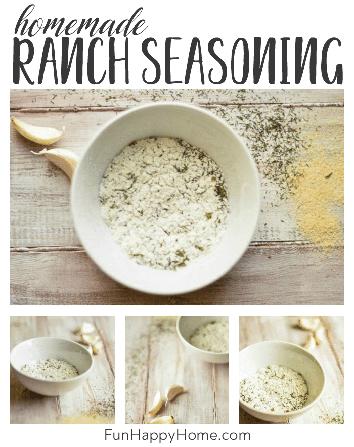 Various pictures of homemade ranch seasoning mix with herbs sprinkled around and garlic cloves shown.