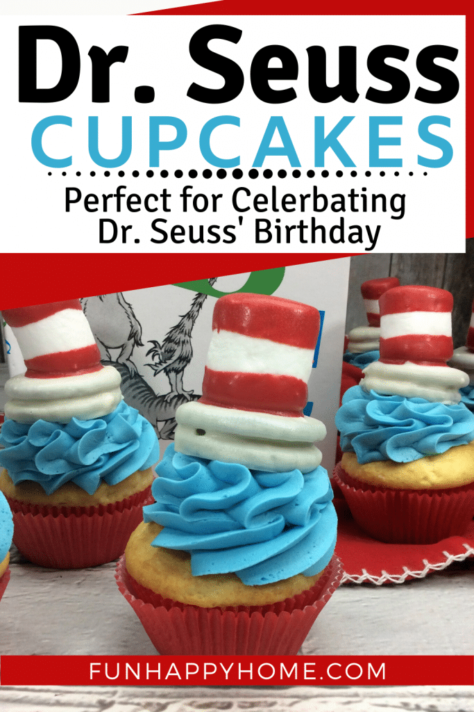 picture of Dr. Suss book with 3 Dr Seuss cupcakes that are vanilla with blue frosting and a chocolate covere oreo and dipped marshmallow designed to look like the cat in the hat.