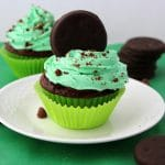Chocolate Mint Cupcakes with Thin Mints