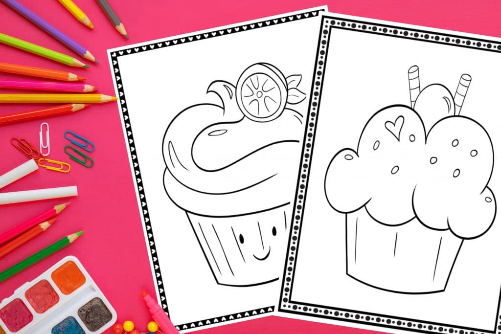Printable Cupcake Coloring Pages 20 Different Pages Fun Happy Home