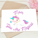 Unicorn Mothers Day Cards Printable