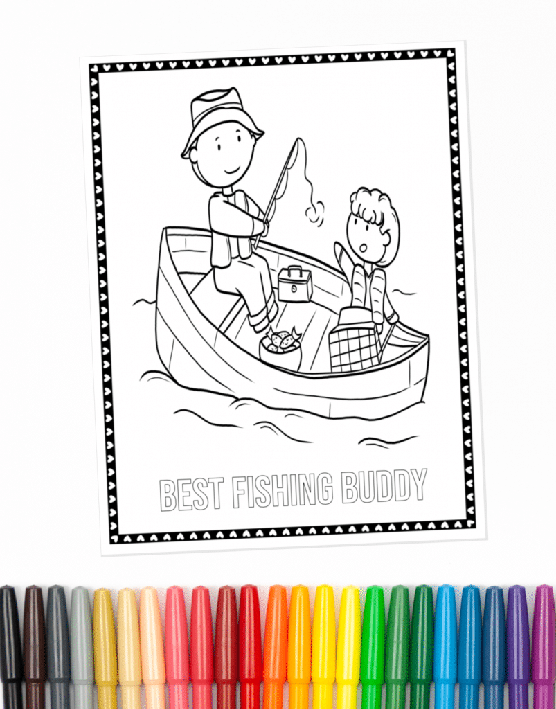 Best fishing  buddy coloring page part of the Father's Day Coloring Pages collection shown with markers
