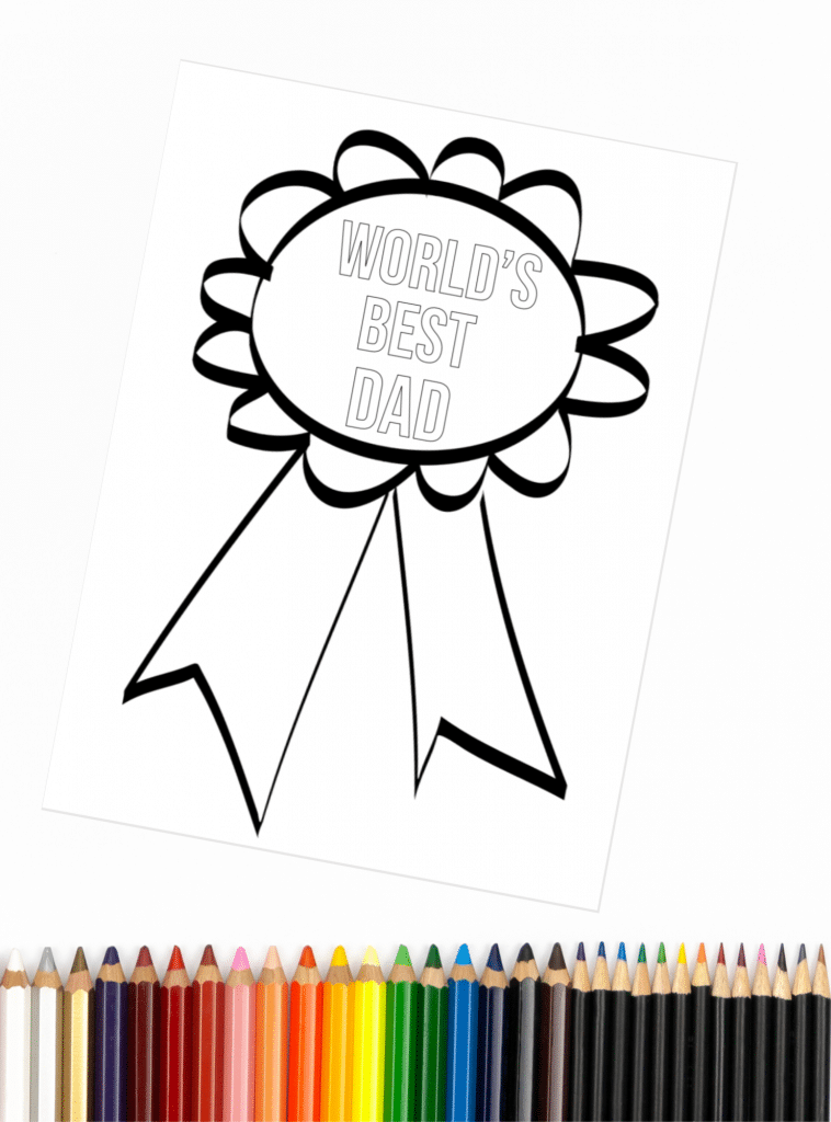 World's Best Dad Coloring Page from Father's Day Coloring Pages collection shown with colored pencils