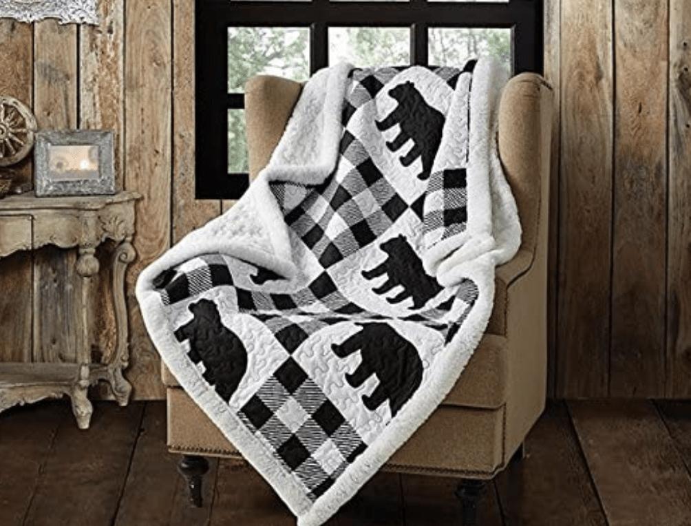 Buffalo Plaid Sherpa Throw Blanket with bears on it