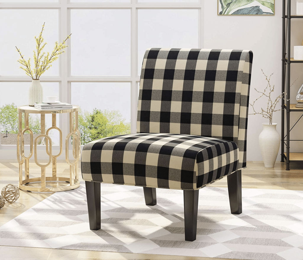 buffalo plaid chair shown in front of a window