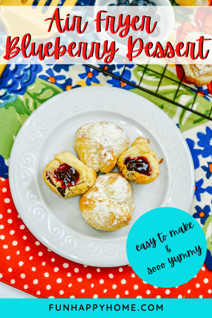 This Air Fryer Blueberry Dessert is made from crescent rolls, blueberry pie filling and powdered sugar and is made in the Air Fryer. It's shown on a white plate.